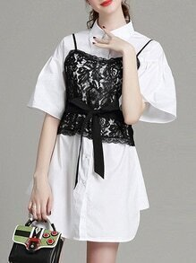 White Lapel Contrast Lace Tie-Waist Dress