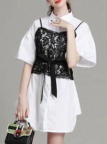 White Lapel Contrast Lace Tie-Waist Dress