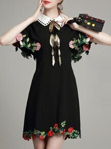 Black Lapel Embroidered Sequined Dress