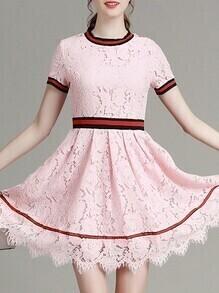 Pink Crew Neck A-Line Lace Dress