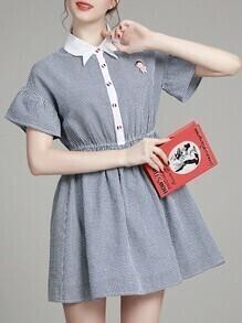 Blue Lapel Gingham A-Line Dress