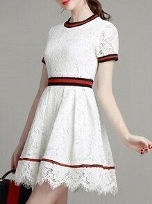 White Crew Neck A-Line Lace Dress