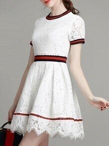 White Crew Neck A-Line Lace Dress