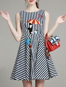 Navy White Striped Embroidered A-Line Dress