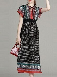 Black Tie Neck Tribal Print Dress