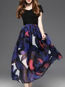 Black V Neck Print A-Line Dress