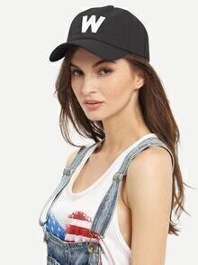 Letter Patch Baseball Hat - Black