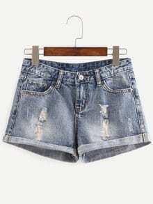 Distressed Rolled Hem Denim Shorts - Blue
