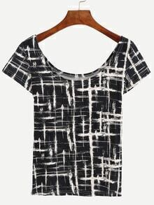Scoop Neck Paint Splatter Print T-shirt - Black