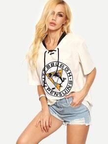 Lace-Up Emblem Print T-shirt - White