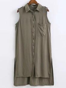 Army Green Sleeveless Pocket Buttons Front High Low Shirt Dress