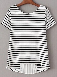 Black White Pleated Zipper Back Striped Blouse