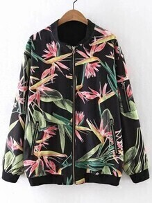 Multicolor Long Sleeve Zipper Front Ribbed Cuff Flower Print Jacket