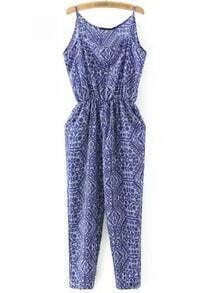 Blue Print Pockets Elastic Waist Spaghetti Strap Jumpsuit