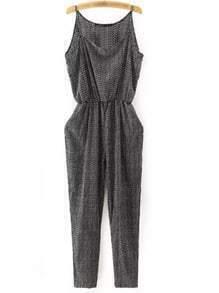 Black Print Pockets Elastic Waist Spaghetti Strap Jumpsuit