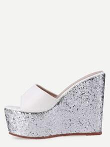 White Block Open Toe Silver Wedge Sandals