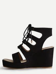 Black Open Toe Strappy Wedge Sandals