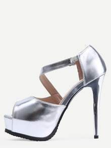 Silver Open Toe Stiletto Mule Sandals