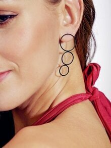 Black Geometric Drop Earrings