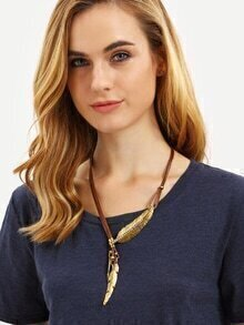 Gold Feather Tassel Pendant Necklace