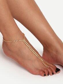 Gold Rhinestone Single Foot Chain
