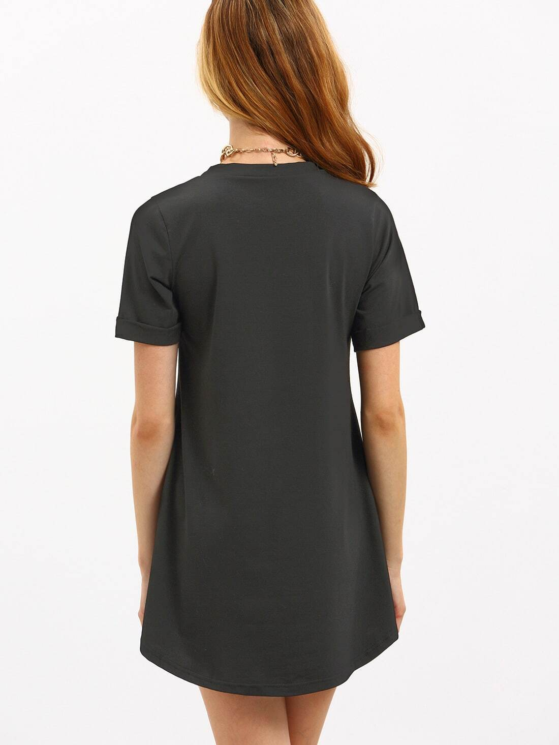 robe t shirt d contract manche courte noir french romwe. Black Bedroom Furniture Sets. Home Design Ideas