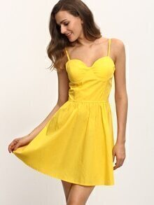 Sweetheart Neckline Cami Dress - Yellow