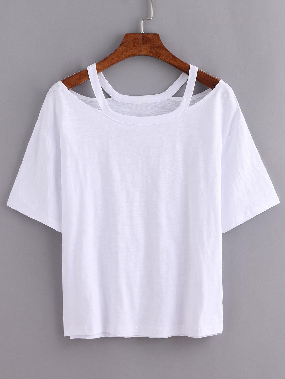 Cutout Loose Fit White T Shirt