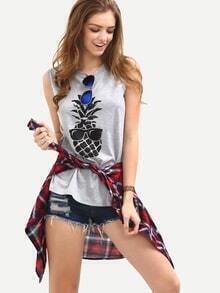 Pineapple Print Grey Tank Top