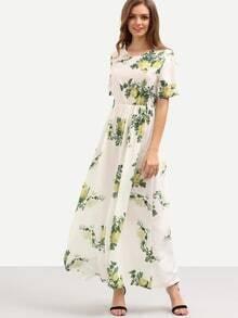 Vestido flor cintura alta -blanco