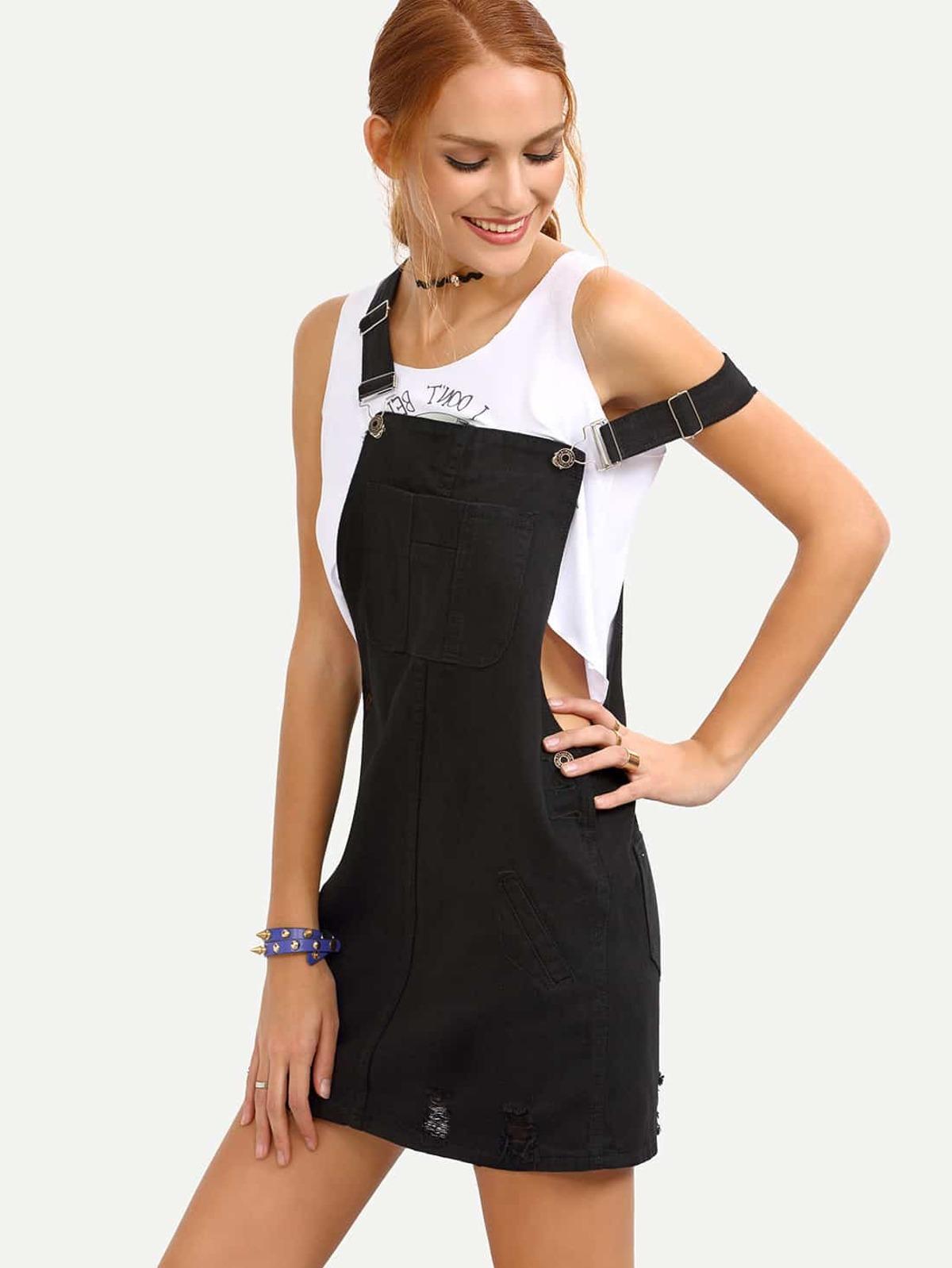 撕裂 黑色牛仔色  工作服 洋裝