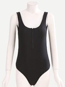 Black Zip Front One-Piece Swimwear
