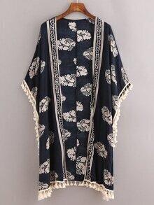 Kimono hojas flecos -marino