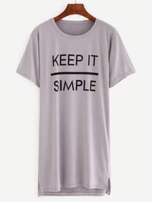 Grey Letters Print Split Tshirt Dress