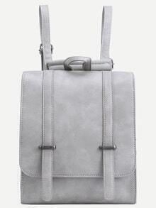 Dual Buckled Strap Flap Backpack - Grey
