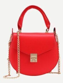 Studded Handle Saddle Bag With Chain - Red