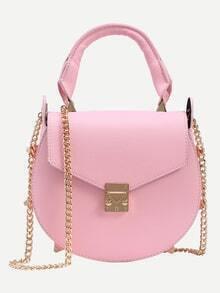 Studded Handle Saddle Bag With Chain - Pink