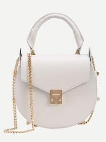 Studded Handle Saddle Bag With Chain - White