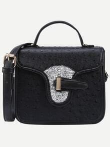 Faux Ostrich Leather Handbag With Strap - Black