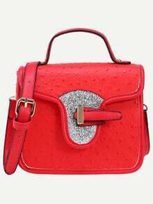 Faux Ostrich Leather Handbag With Strap - Red