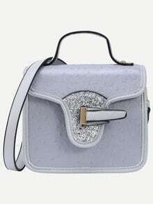 Faux Ostrich Leather Handbag With Strap - Grey