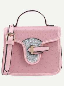 Faux Ostrich Leather Handbag With Strap - Pink