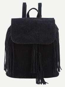 Faux Suede Fringe Flap Backpack - Black