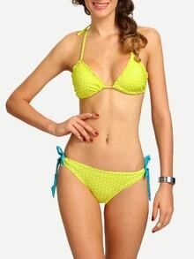 Shirred Polka Dot Print Side-Tie Bikini Set - Yellow