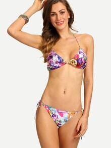 Multicolor Cartoon Print Triangle Bikini Set