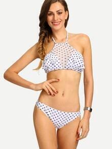 Mesh Insert Ruffled Polka Dot Print Bikini Set - White