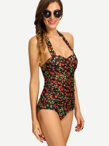 Ruched Cherry Print One-Piece Swimwear - Black