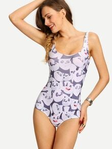 Multicolor Panda Print One-Piece Swimwear