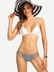 Strappy Chevron Print Mix & Match Bikini Set