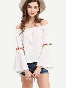 White Off The Shoulder Pom Pom Trim Blouse